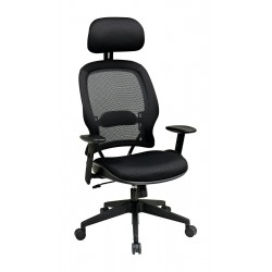 Office Star Products - 55403 - Black Mesh Desk Chair 33-1/2 Back Height, Arm Style: Adjustable