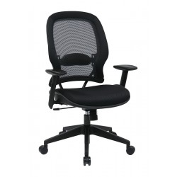Office Star Products - 5540 - Black Mesh Desk Chair 22-3/4 Back Height, Arm Style: Adjustable