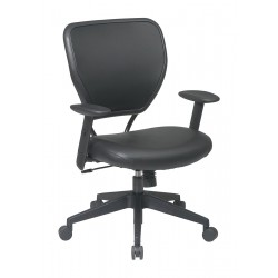 Office Star Products - 5500V - Black Vinyl Desk Chair 18-1/2 Back Height, Arm Style: Adjustable