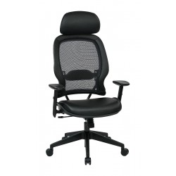 Office Star Products - 57906E - Black Mesh Desk Chair 33-1/2 Back Height, Arm Style: Adjustable