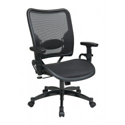 Office Star Products - 6216 - Black Mesh Desk Chair 24 Back Height, Arm Style: Adjustable