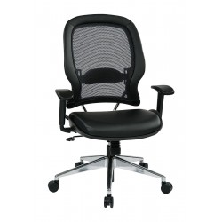 Office Star Products - 335-E37P918P - Black Mesh Desk Chair 23 Back Height, Arm Style: Adjustable