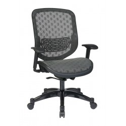 Office Star Products - 829-R22C728P - Charcoal Fabric Desk Chair 23 Back Height, Arm Style: Adjustable
