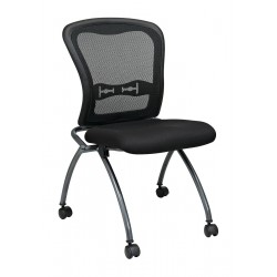 Office Star Products - 84220-30 - Titanium Metal Folding Chair with Coal Seat Color, 2PK