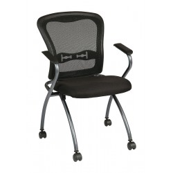 Office Star Products - 84440-30 - Titanium Metal Folding Chair with Coal Seat Color, 2PK