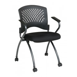 Office Star Products - 84330-30 - Titanium Metal Folding Chair with Coal Seat Color, 2PK