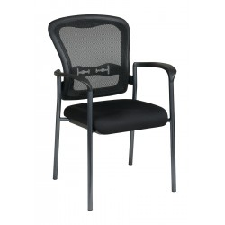 Office Star Products - 84510-30 - Titanium Metal Stacking Chair with Coal Seat Color, 1EA
