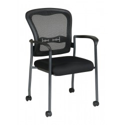 Office Star Products - 84540-30 - Titanium Metal Stacking Chair with Coal Seat Color, 1EA
