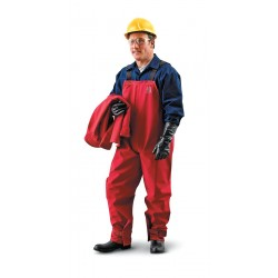 Ansell-Edmont - 66-662 - Collared Bib Overalls with Open Cuff, Red, S, CPC(TM) Polyester Trilaminate Gore