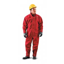 Ansell-Edmont - 66-667 - Collared Coveralls with Open Cuff, Red, XL, CPC Polyester Trilaminate