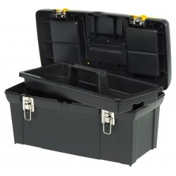 Stanley / Black & Decker - 024013S - Plastic Portable Tool Box, 10-7/8H x 23-1/2W x 11-3/8D, 1894 cu. in., Black