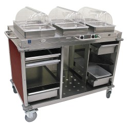 Cadco - CBC-HC-L5 - Buffet Cart, Hot/Cold, Cherry, Stainless ST