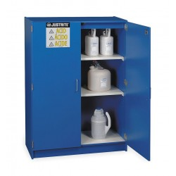 Justrite - 24150 - Justrite 42' X 60' X 17 7/8' Royal Blue Wood Laminate Non-Metallic Countertop Storage Cabinet With (2) Doors, (2) Adjustable Shelves And Keyed Lock (For Corrosives) (Capacity 49 Each 2 1/2 Liter Bottles), ( Each )