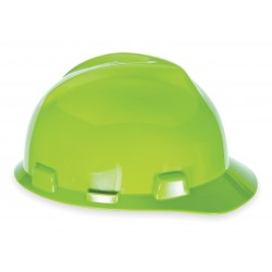 MSA - 10061512 - Front Brim Hard Hat, 4 pt. Ratchet Suspension, Hi-Visibility Yellow/Green, Hat Size: 6-1/2 to 8