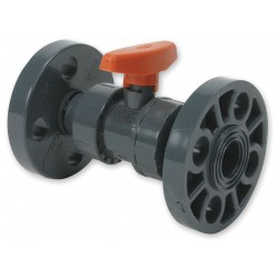 GF Piping Systems - 161375081 - PVC Flanged x Flanged Ball Valve, Tee, 1-1/2 Pipe Size