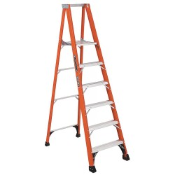 "Louisville Ladder - FP1406HD - Fiberglass Platform Stepladder, 7 ft. 9"" Ladder Height, 5 ft. 8"" Platform Height, 375 lb."