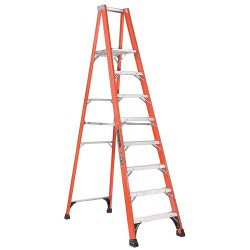Louisville Ladder - FP1408HD - Fiberglass Platform Stepladder, 9 ft. 8 Ladder Height, 7 ft. 7 Platform Height, 375 lb.