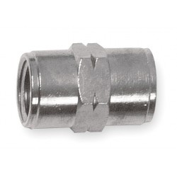 Alpha Fittings - 82300N-04 - Nickel Plated Brass Female Coupling, FNPT, 1/4 Pipe Size - Pipe Fitting