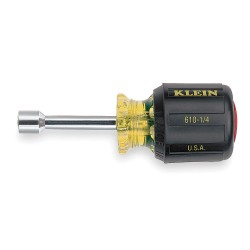"Klein Tools - 610-1/4 - 3-1/2"" Steel Nut Driver, Yellow with Black Grip"
