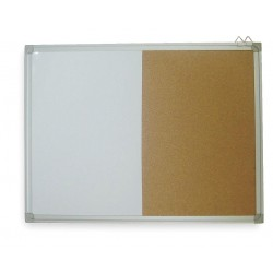 Other - 1NUH2 - Natural Melamine/Cork Combination Bulletin Board, Aluminum Frame Material, 36 Width, 24 Height