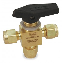 Parker Hannifin - 2A-MB2XPFA-BP - Parker Hannifin 2A-MB2XPFA-BP three-way ball valve, brass, 1/8 compression connection