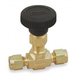 Parker Hannifin - 4A-V4LN-B - Parker Hannifin 4A-V4LN-B needle valve; 1/4 compression connectors, brass