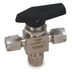 Parker Hannifin - 4A-MB4XPFA-SSP - Parker Hannifin 4A-MB4XPFA-SSP three-way ball valve, stainless steel, 1/4 compression connection