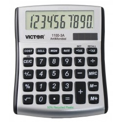 Victor - 1100-3A - Portable Calculator, LCD, 10 Digits