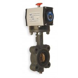 Milwaukee Valve - GLB23E D 6 - 6 Cast Iron Spring Return Pneumatically Actuated Butterfly Valve With EPDM Seat Material