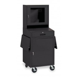 Other - 1YCB2 - 24-1/2 x 22-1/2 x 62-3/4 Steel Mobile Computer Cabinet, Black
