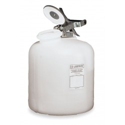 Justrite - 12762 - Corrosive Container Disposal High Density Polyethylene 2 Gal White Stainless Steel Justrite Mfg Co. 12 In Outside Diameter 14.75 In H, EA