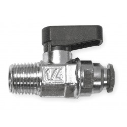Alpha Fittings - 86330-04-02 - Nickel-Plated Brass MNPT x Push Mini Ball Valve, Wedge, 1/8 Pipe Size