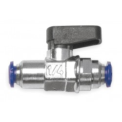 Alpha Fittings - 86320-04-04 - Nickel-Plated Brass Push x Push Mini Ball Valve, Wedge