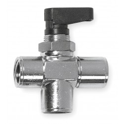Alpha Fittings - 86700-02 - Nickel-Plated Brass FNPT x FNPT x FNPT Mini Ball Valve, Wedge, 1/8 Pipe Size