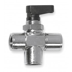 Alpha Fittings - 86710-04 - Nickel-Plated Brass FNPT x FNPT x FNPT Mini Ball Valve, Wedge, 1/4 Pipe Size