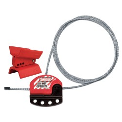 Master Lock - S3921 - Butterfly Valve Lockout Kit, Red, Fits Handle Size: Universal, Thermoplastic/Steel Cable