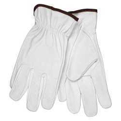 Memphis Glove - 3613L - Goatskin Leather Palm Gloves with Slip-On Cuff, White, L