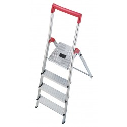 Hailo - 8150-428 - Aluminum Platform Stepladder, 4 ft. 7 Ladder Height, 2 ft. 9 Platform Height, 330 lb.