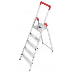 Hailo - 8150-528 - Aluminum Platform Stepladder, 5 ft. 1 Ladder Height, 3 ft. 6 Platform Height, 330 lb.