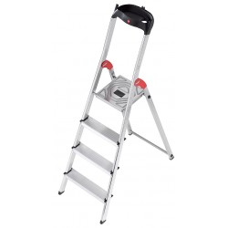 Hailo - 8160-428 - Aluminum Platform Stepladder, 4 ft. 7 Ladder Height, 2 ft. 9 Platform Height, 330 lb.