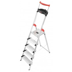 Hailo - 8030-528 - Aluminum Platform Stepladder, 5 ft. 1 Ladder Height, 3 ft. 6 Platform Height, 330 lb.