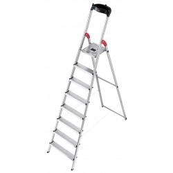 Hailo - 8030-828 - Aluminum Platform Stepladder, 7 ft. 9 Ladder Height, 5 ft. 8 Platform Height, 330 lb.