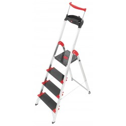 Hailo - 8010-428 - Aluminum Platform Stepladder, 4 ft. 7 Ladder Height, 2 ft. 9 Platform Height, 330 lb.