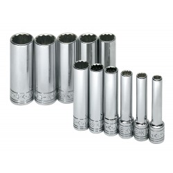 SK Hand Tool - 1350 - 1/4Drive Metric Chrome Socket Set, Number of Pieces: 11
