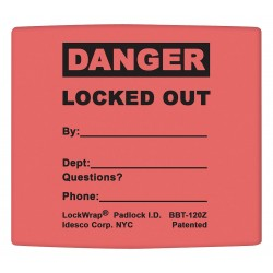 Idesco - LMBBT121AAC - Padlock Label, 2-1/8inHx 1-1/2inW, PK25