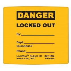 Idesco - LMBBT122AAC - Padlock Label, 2-1/8inHx1-1/2inW, PK25