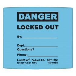 Idesco - LMBBT123AAC - Padlock Label, 2-1/8inHx1-1/2inW, PK25