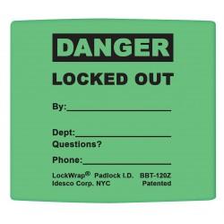 Idesco - LMBBT124AAC - Padlock Label, 2-1/8inHx1-1/2inW, PK25