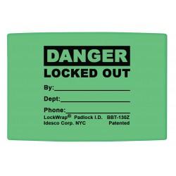 Idesco - LMBBT129AAC - Padlock Label, 1-5/8inHx 1-1/2inW, PK25