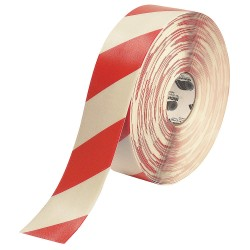 Mighty Line - 3RWCHVRED - Industrial Floor Tape, Striped, Continuous Roll, 3 Width, 1 EA
